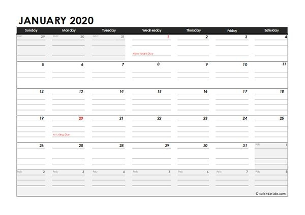 Editable 2020 Monthly Calendar Excel Template - Free
