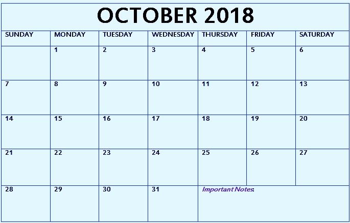 Editable October Calendar 2018 Printable With Holidays