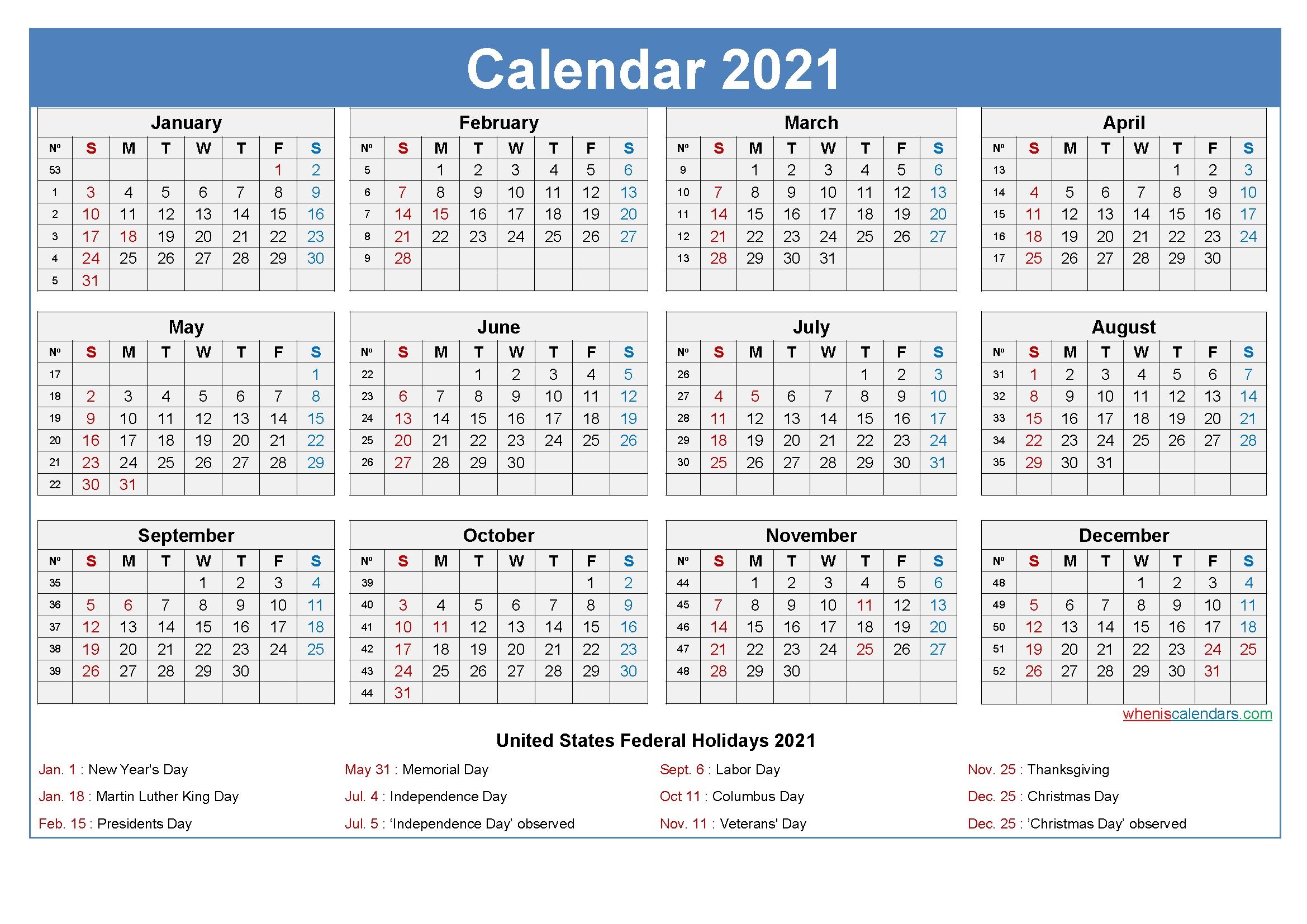 Editable Printable Calendar 2021 Word - Template No.ep21Y26