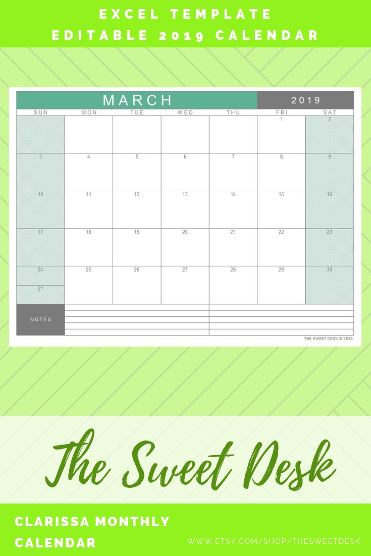 Excel Calendar 2019, Printable Calendar, Editable Monthly