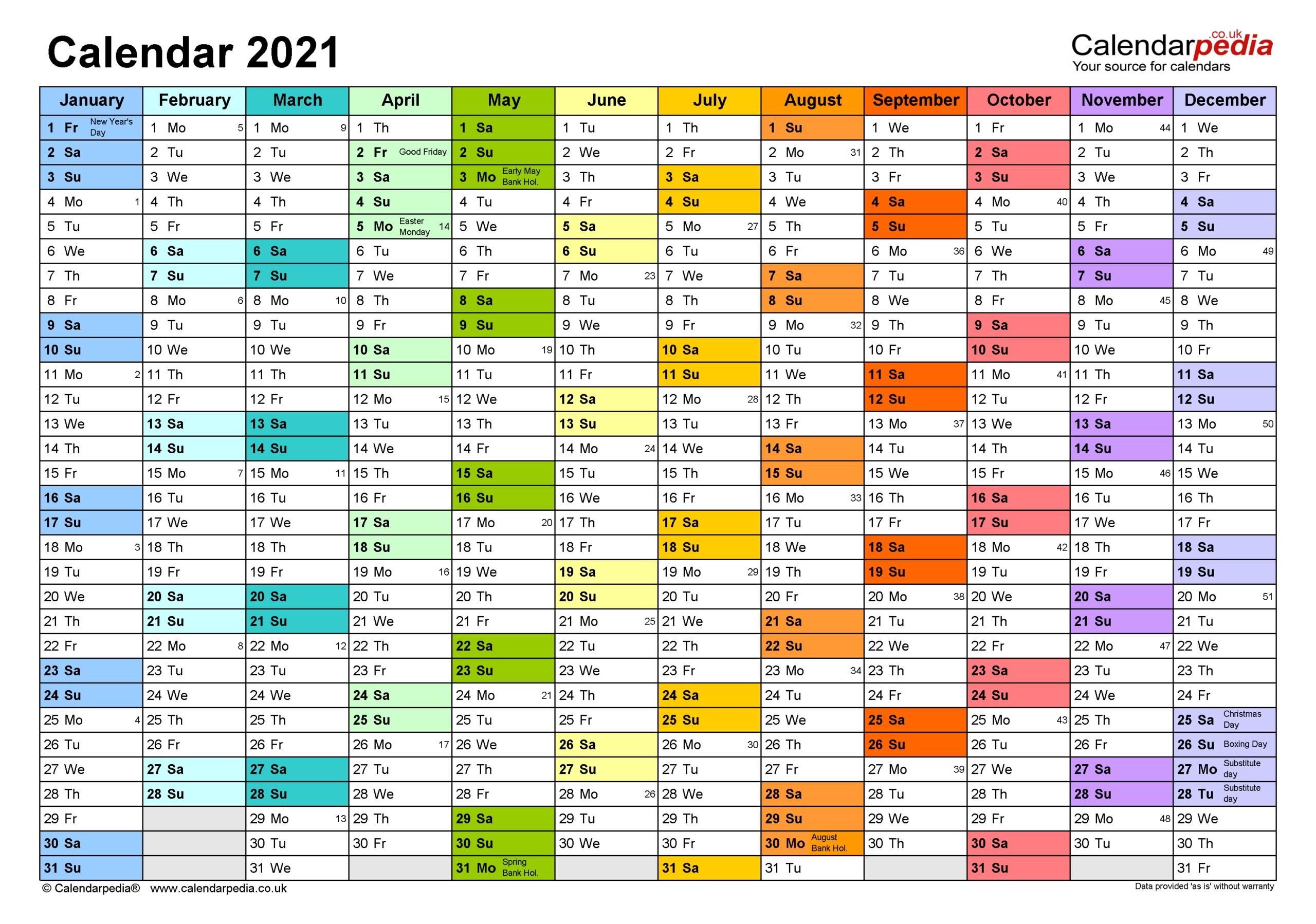 Excel Calendar With Week Numbers 2021 | Calendar
