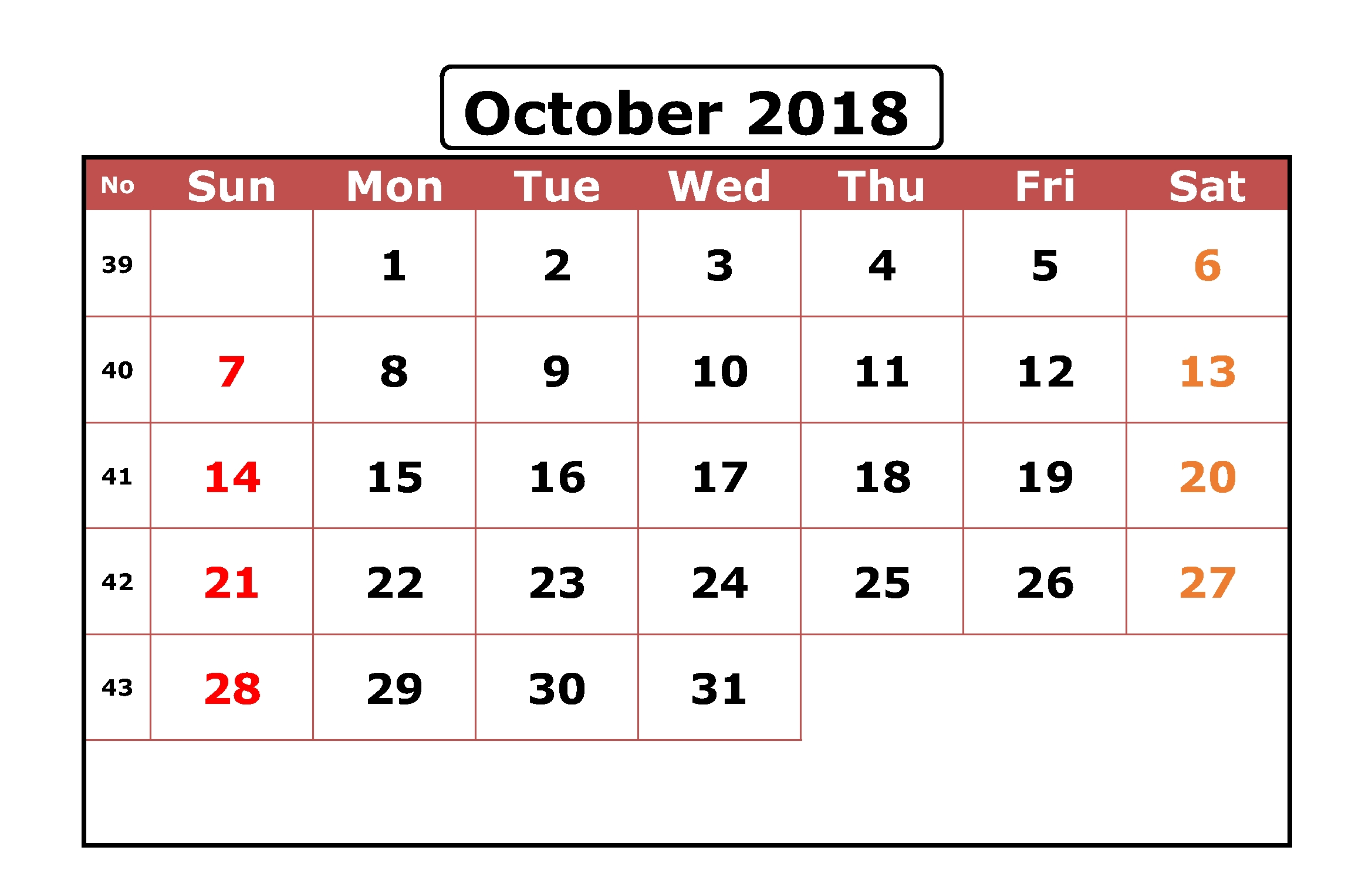 Excel October 2018 Spreadsheet Calendar | 2018 Printable