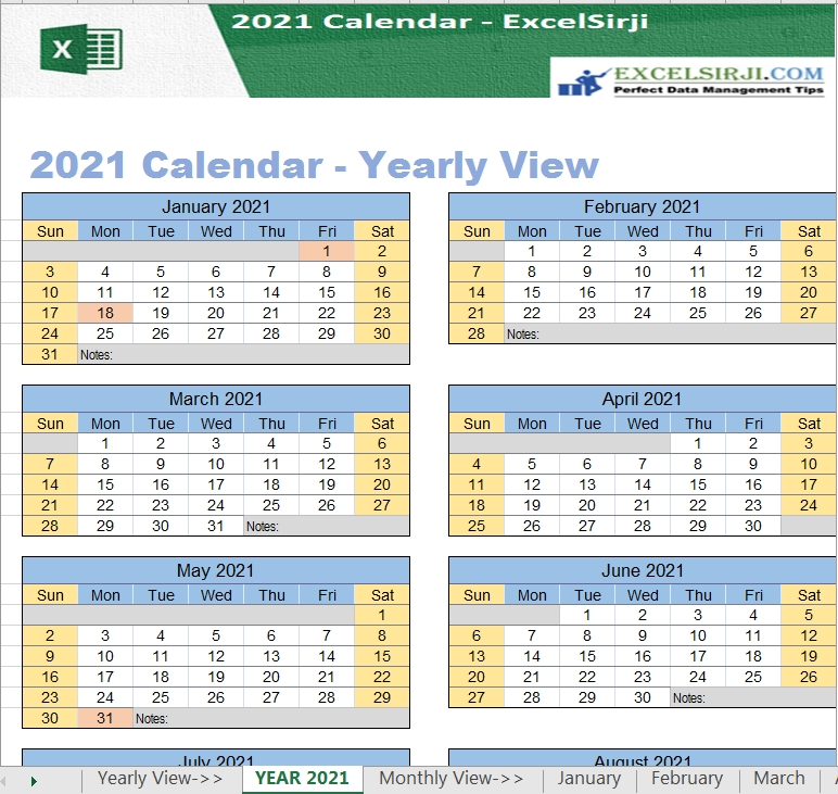 Excelsirji | Excel Utilities/Templates | 2021 Excel Calendar