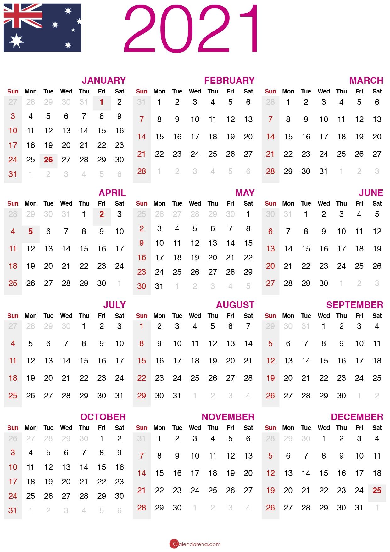 🇦🇺 Download Free 2021 Calendar Australia 🇦🇺