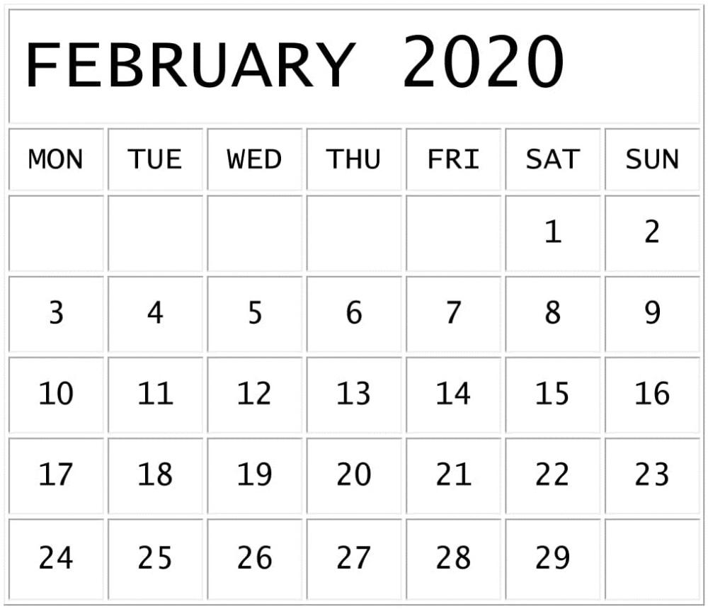 February 2020 Calendar Template Google Sheets Format
