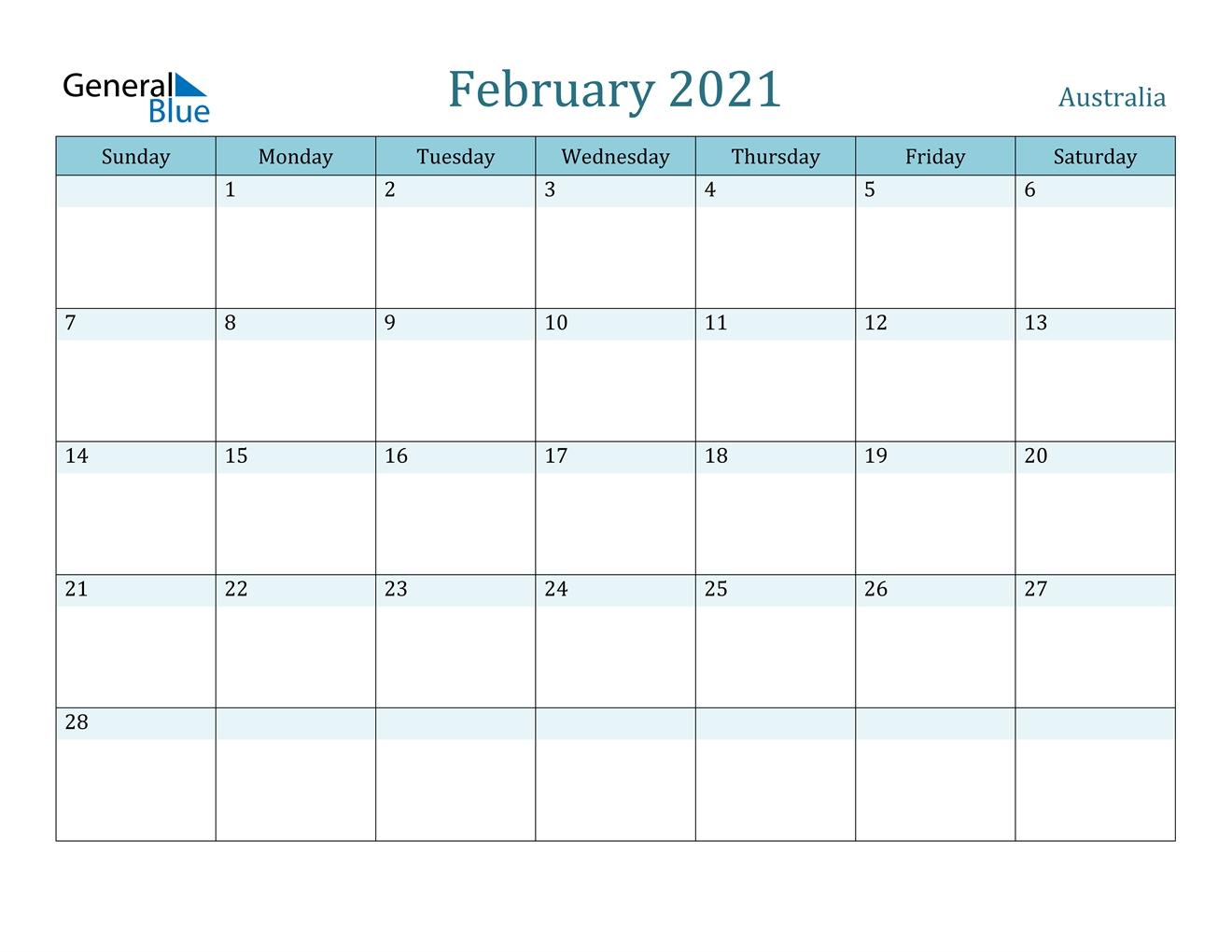 February 2021 Calendar - Australia