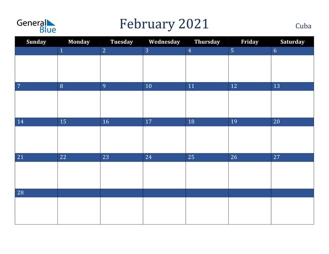 February 2021 Calendar - Cuba