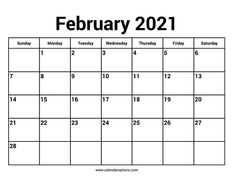 February 2021 Calendars - Calendar Options