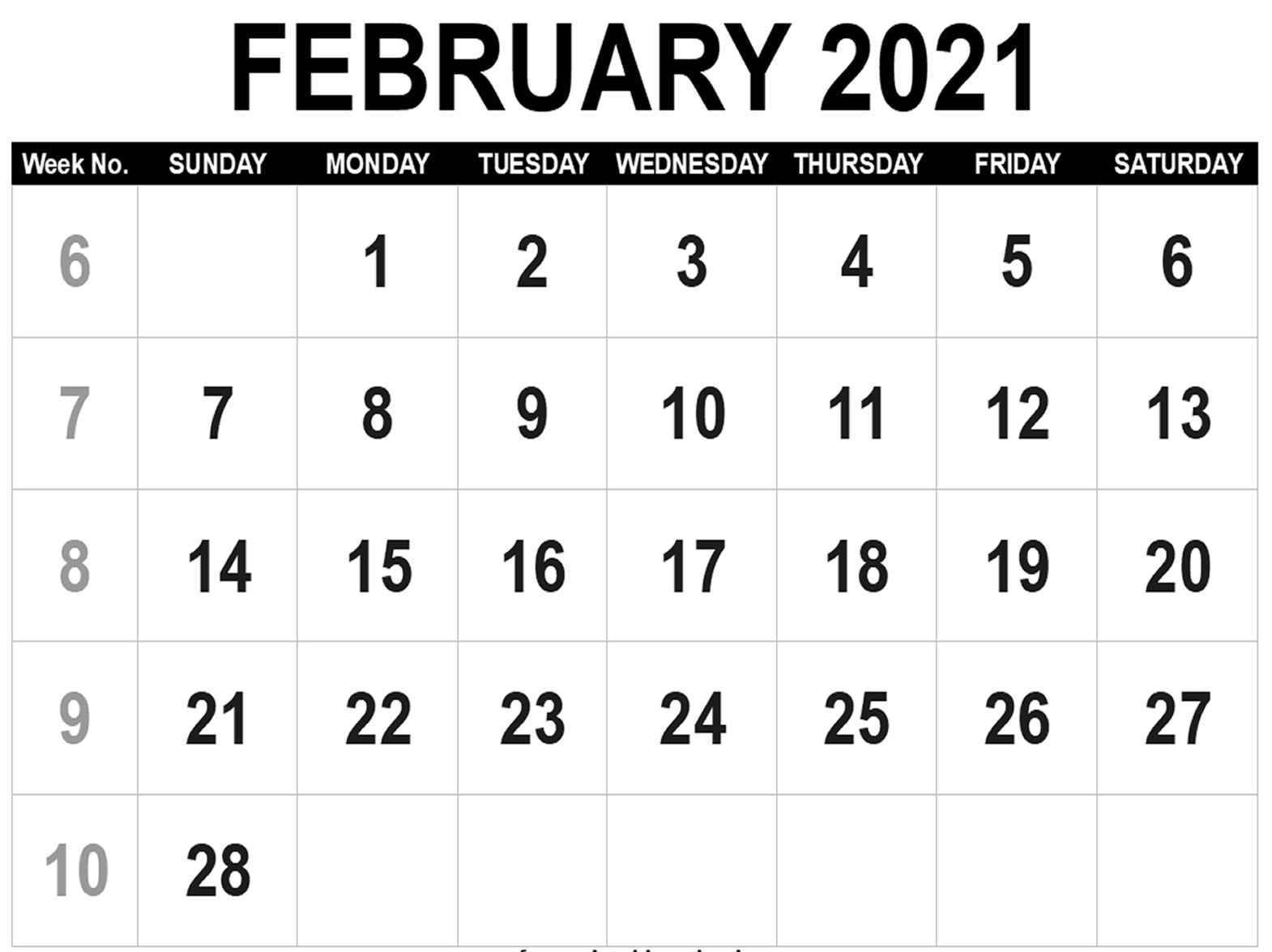 February 2021 Printable Calendar Pdf Monthly Worksheets