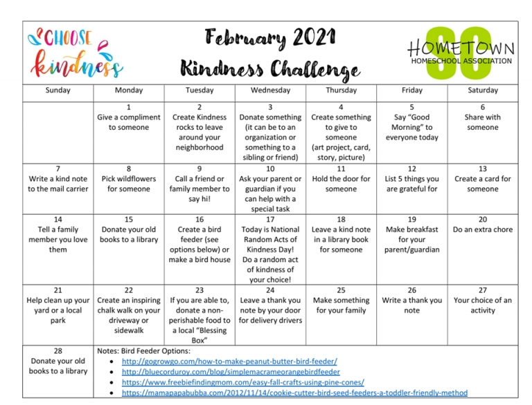 February Kindness Challenge - Hometown Homeschool