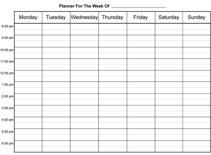 Fill In Printable Weekly Calendar Sheets - Google Search