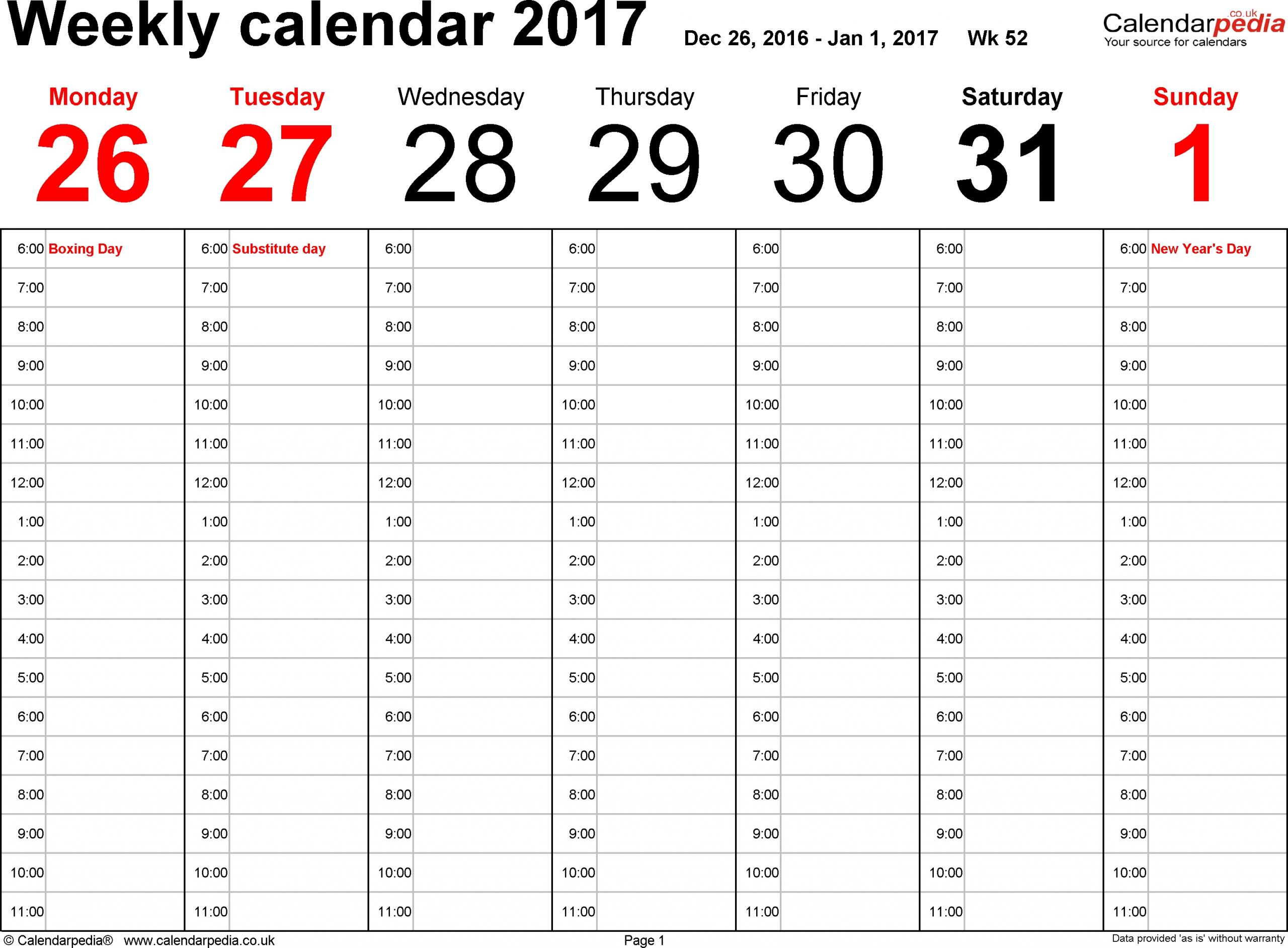 1 Week Printable Calendar
