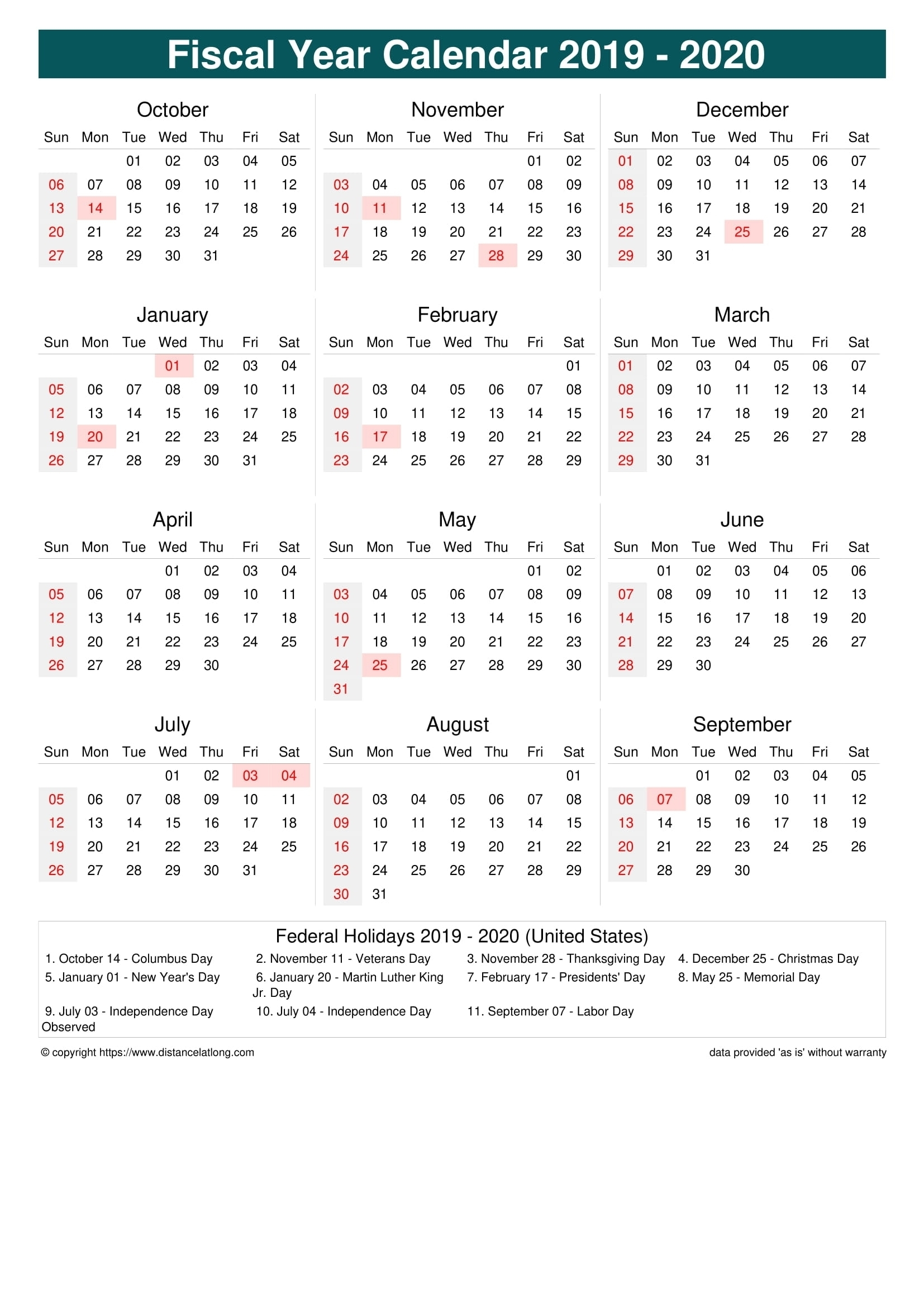 Financial Calendar 2019-2020 In Weeks - Calendar