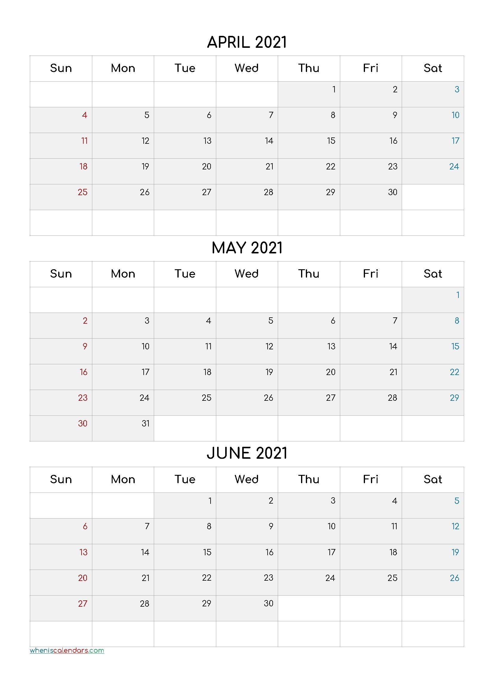 First Quarter Months 2021 | Month Calendar Printable