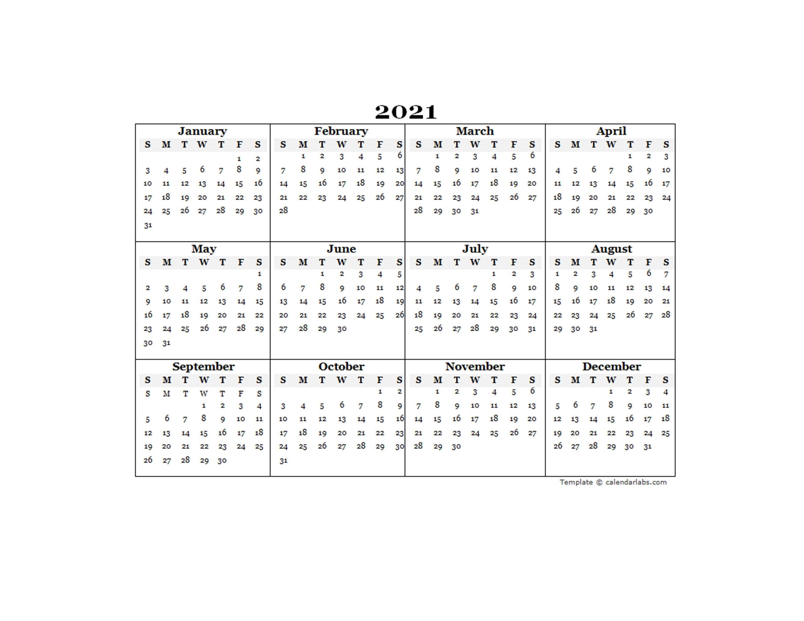 Fiscal Year 2021 Calendar Excel