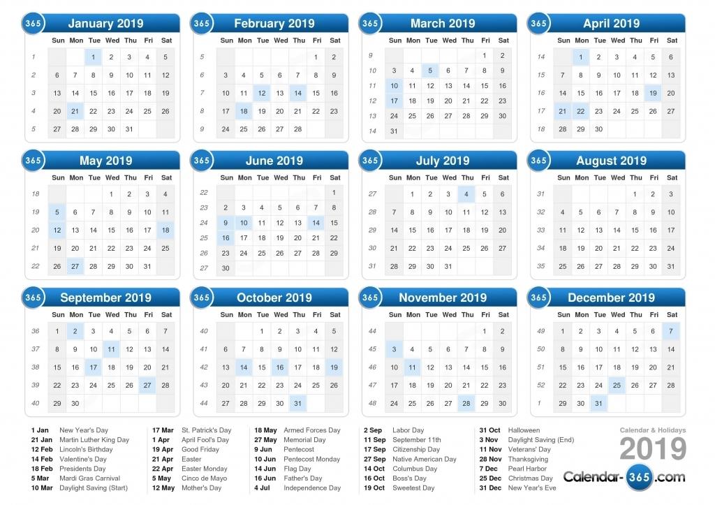 Five Year Calendar View - Calendar Template 2020