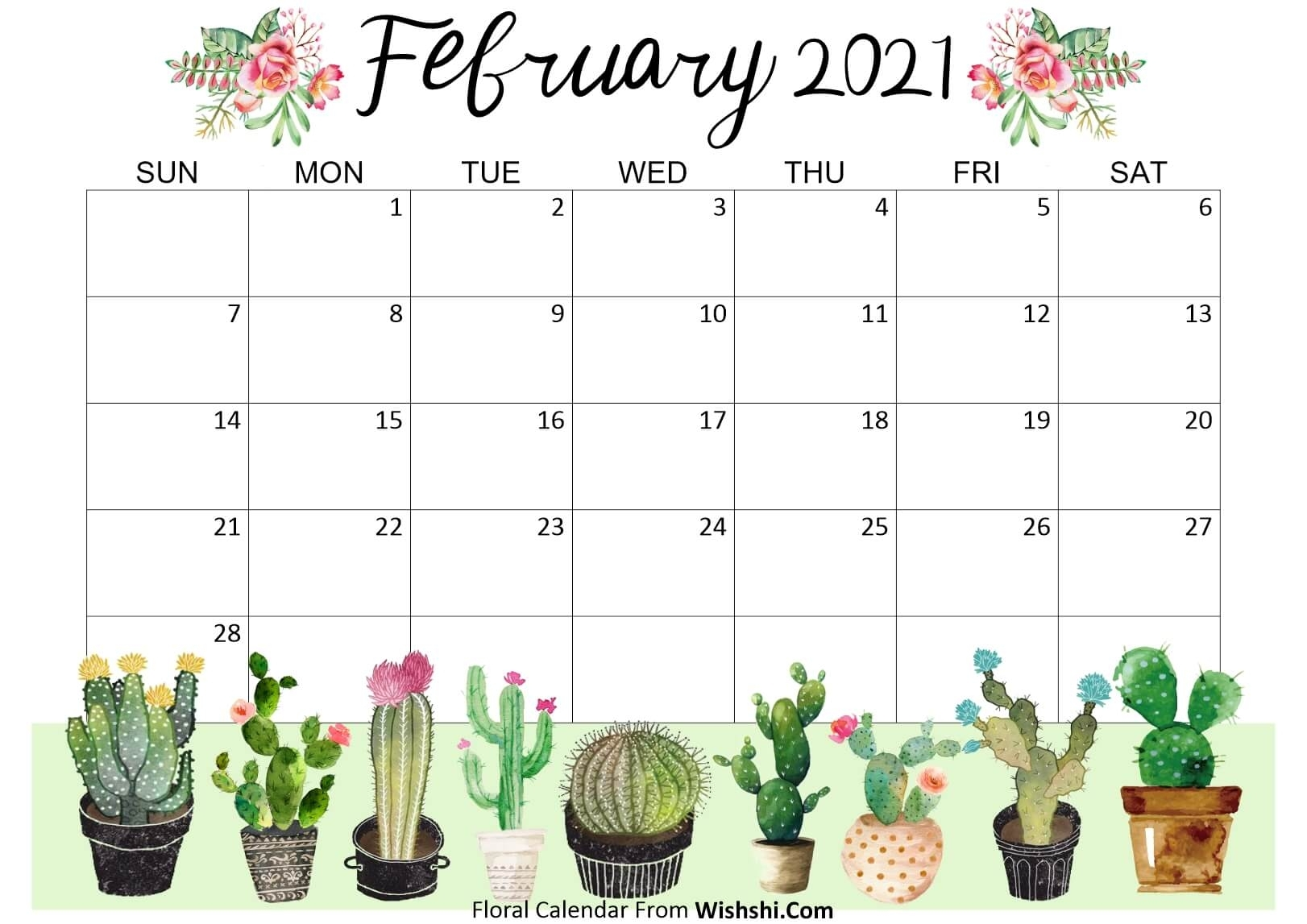 Floral February 2021 Calendar Printable - Free Printable