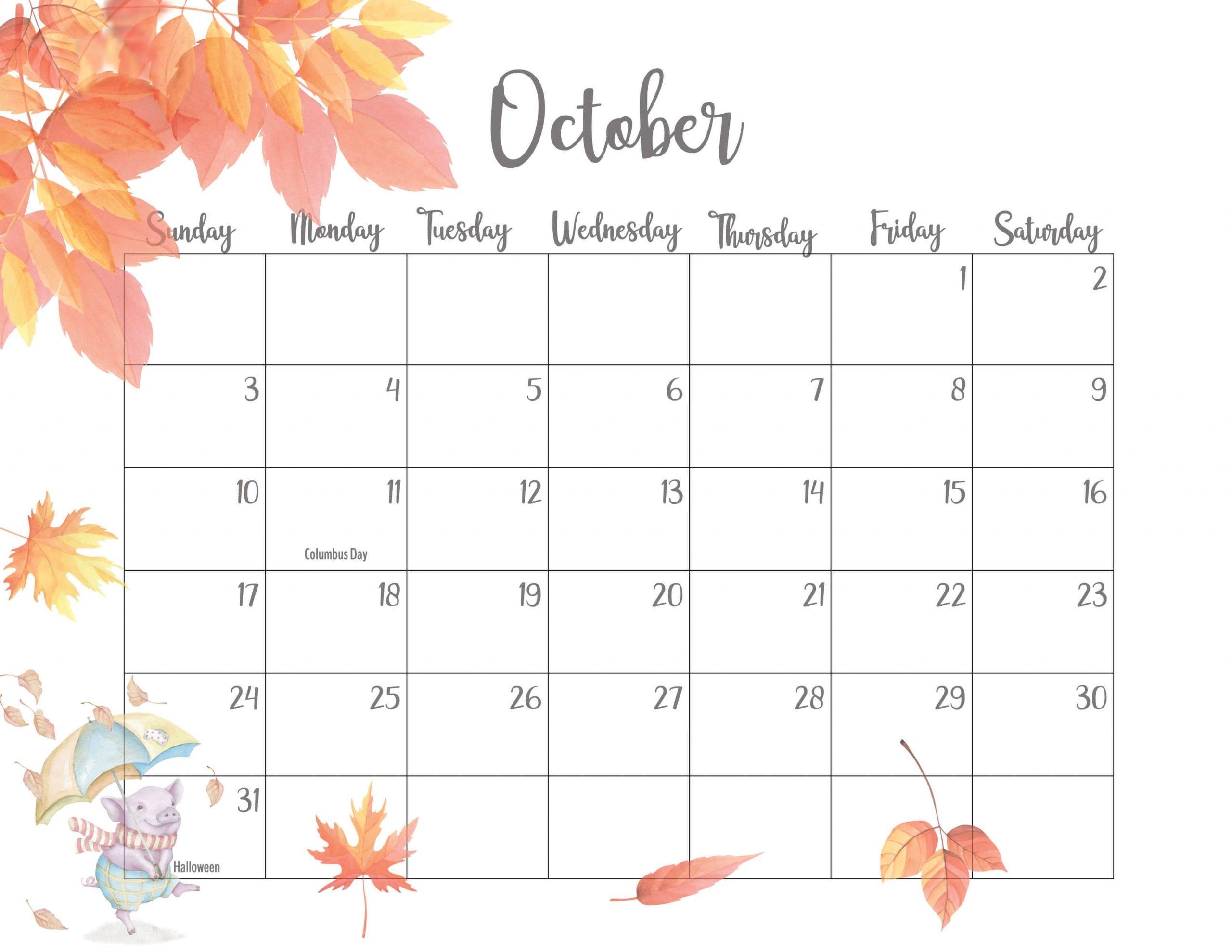 Floral October 2021 Calendar Printable - Time Management