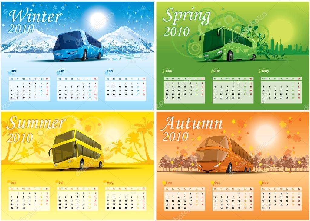 Four-Season Calendar 2010 — Stock Vector © Dohtoor #1257955