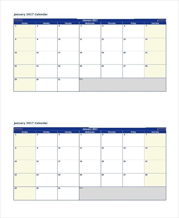 Free 13+ Printable Monthly Calendar Samples In Pdf | Ms