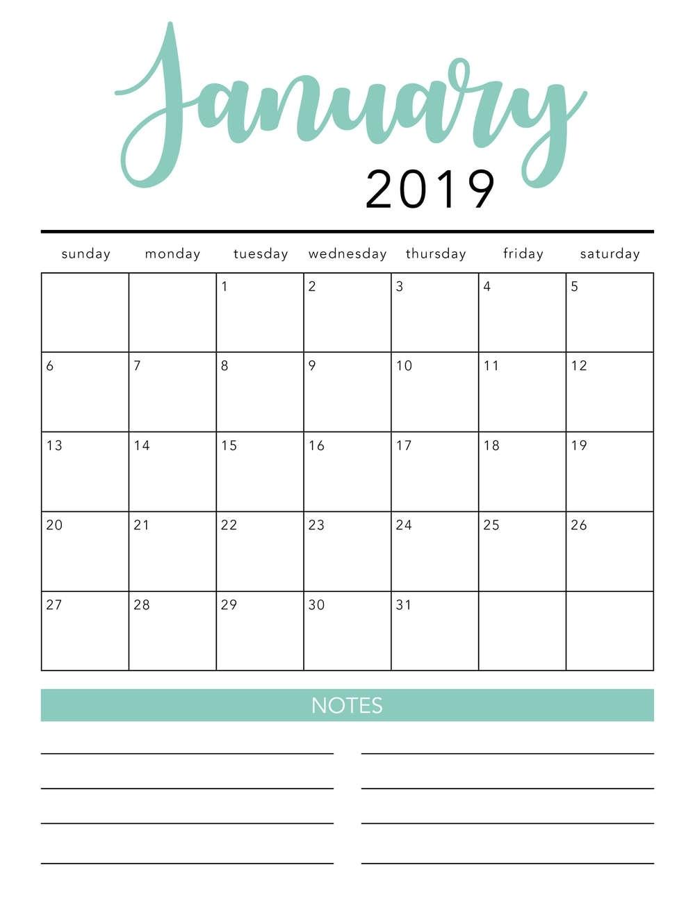 Free 2019 Printable Calendar Template (2 Colors!) - I