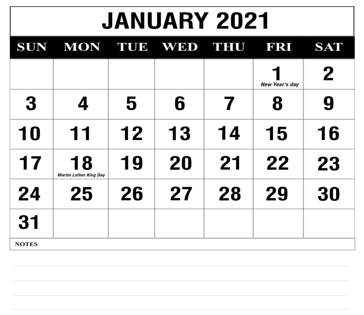 Free 2021 Calendar Monthly With Lines Printable Pdf | Ten