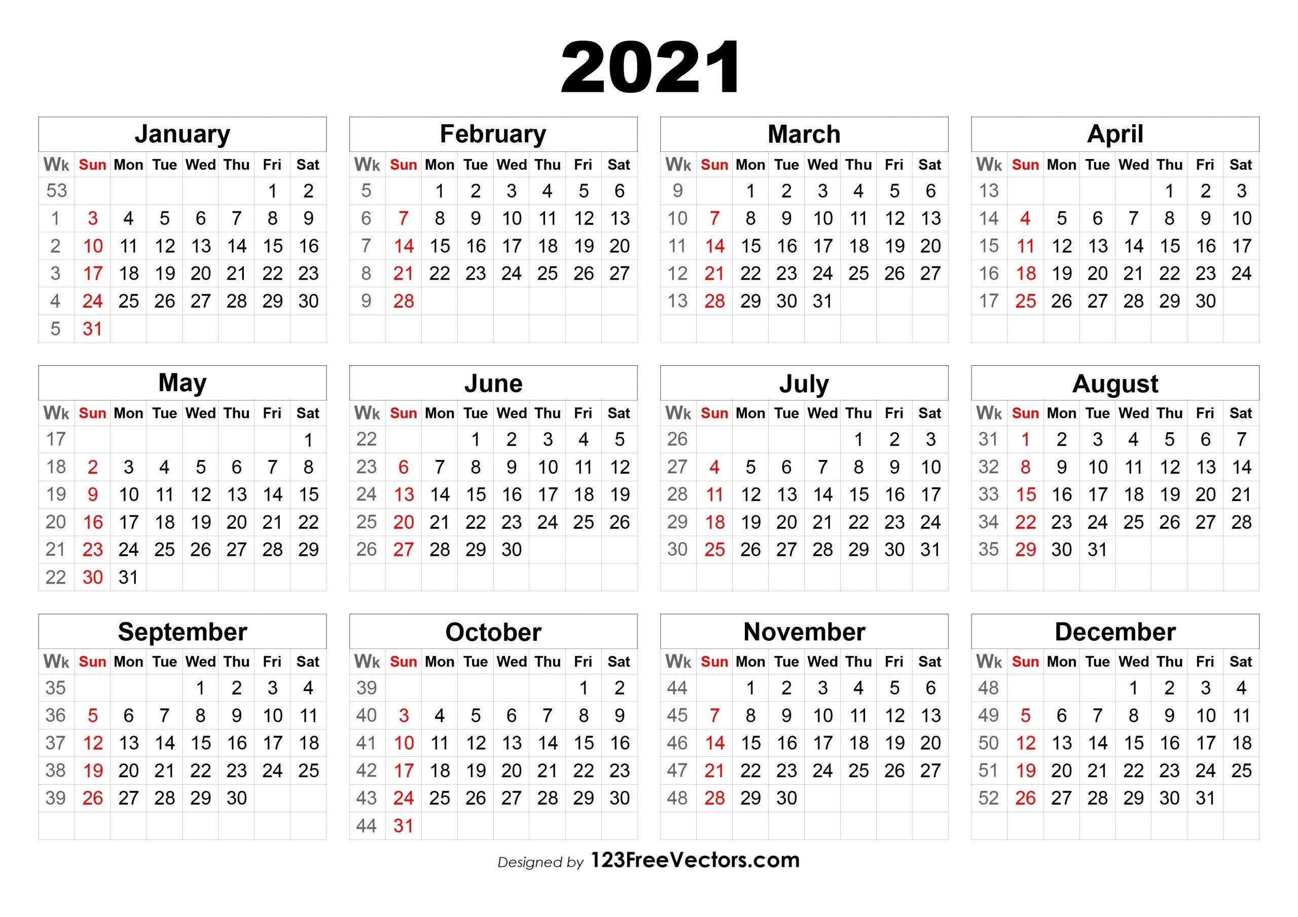Free 2021 Calendar With Week Numbers