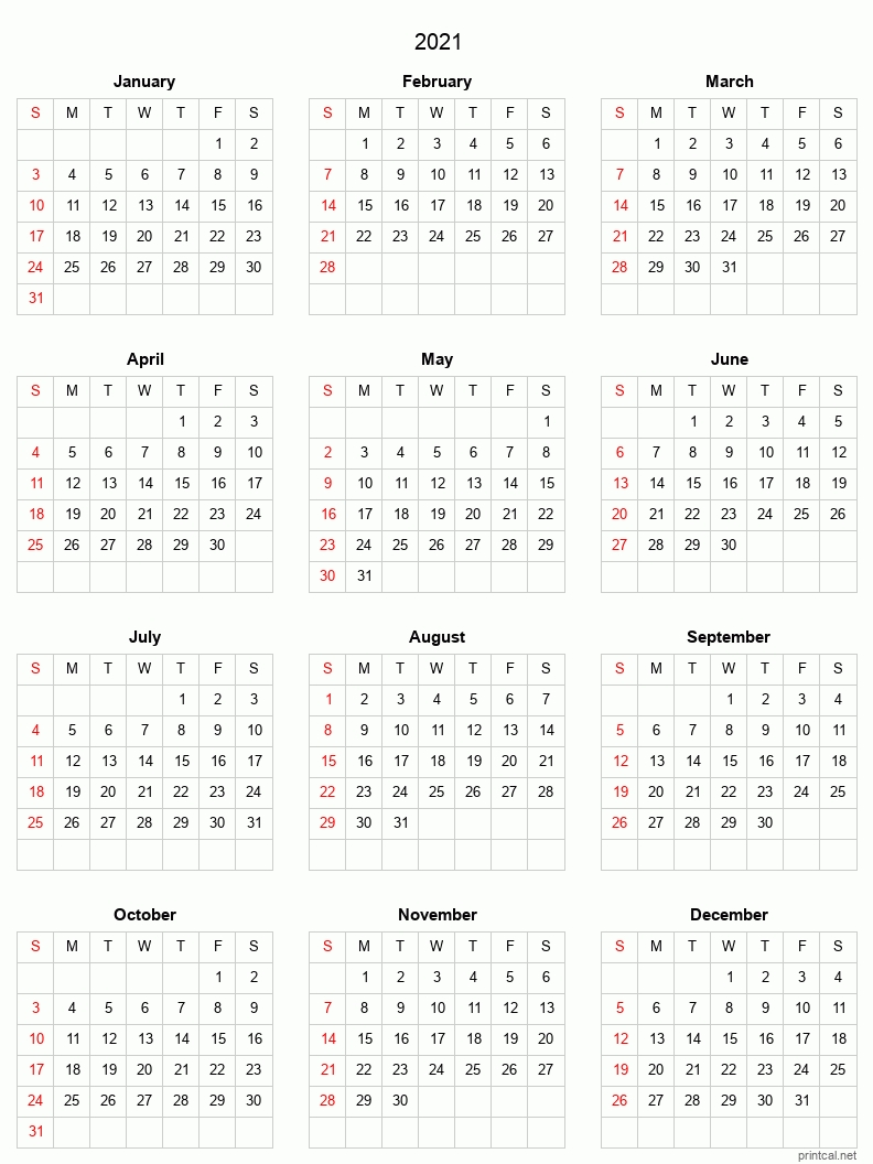 Free 2021 Yearly Calender Template : Fillable Calendar