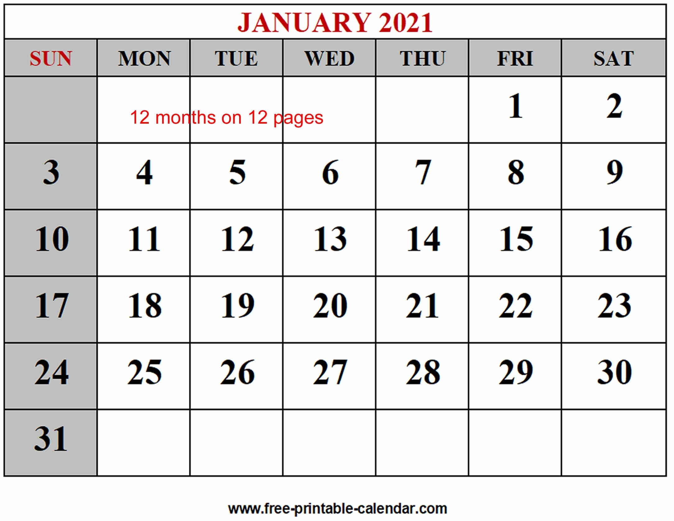 Free 2021 Yearly Calender Template / Free Printable Year