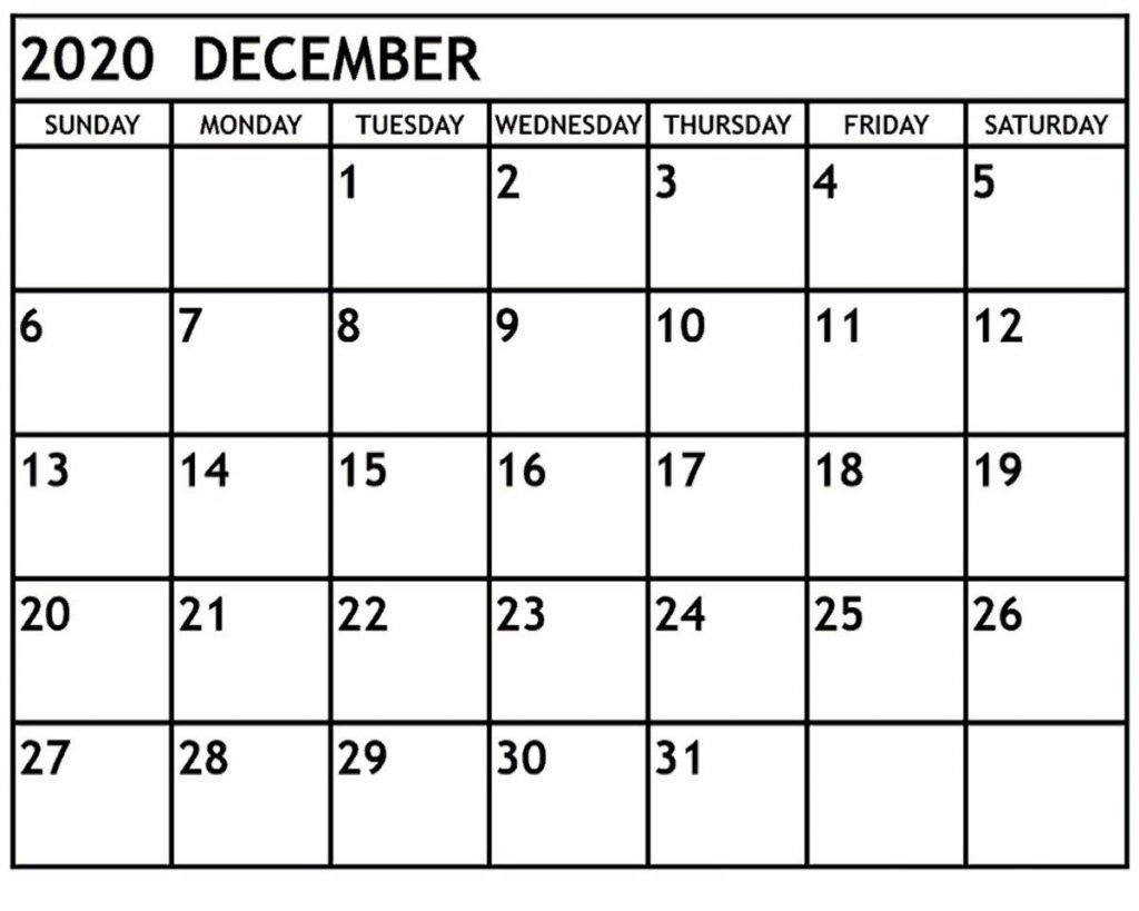 Free Blank December 2020 Calendar Printable In Pdf, Word