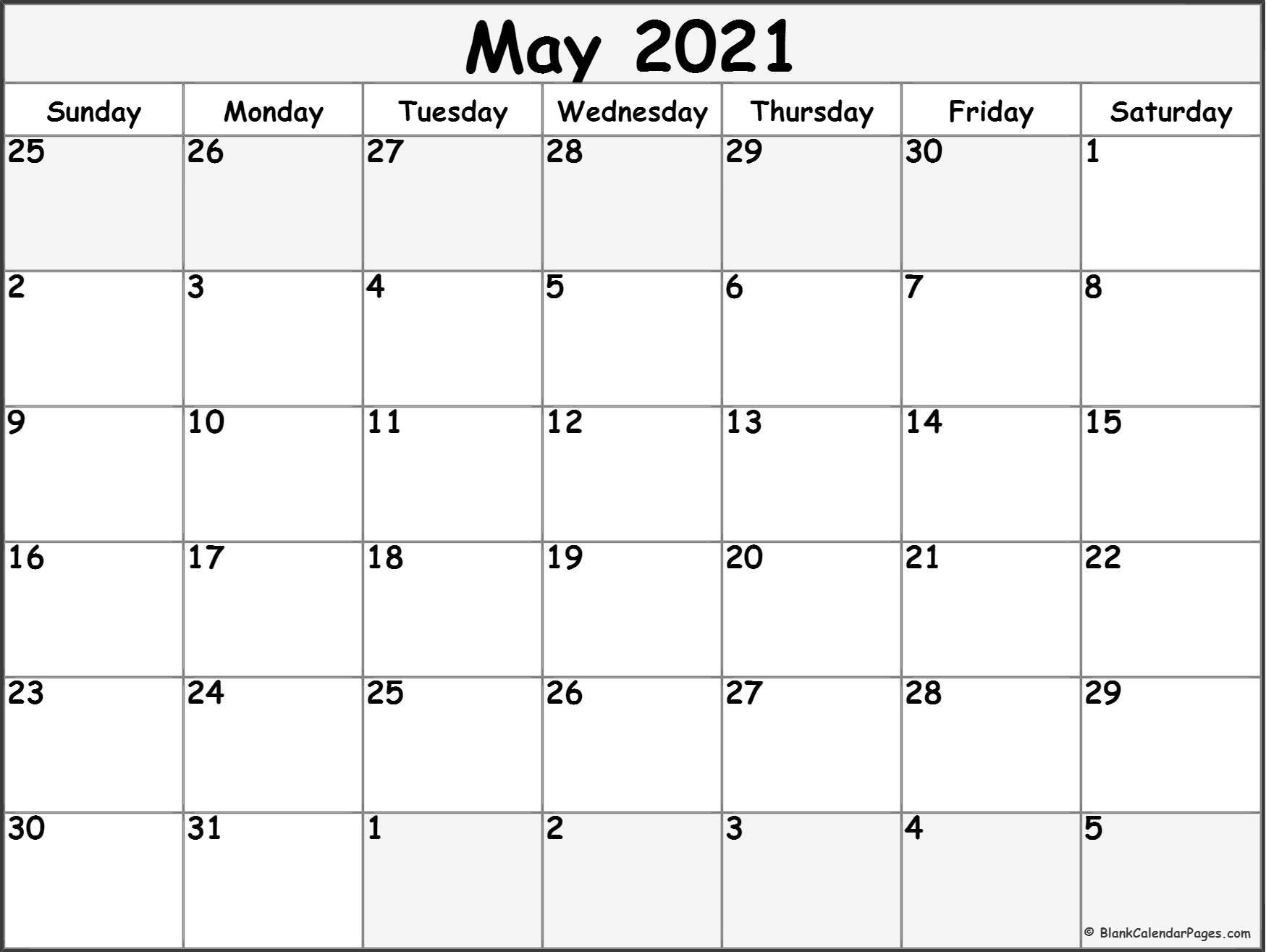 Free Blank Printable Monthly Calendar 2021   Calendar