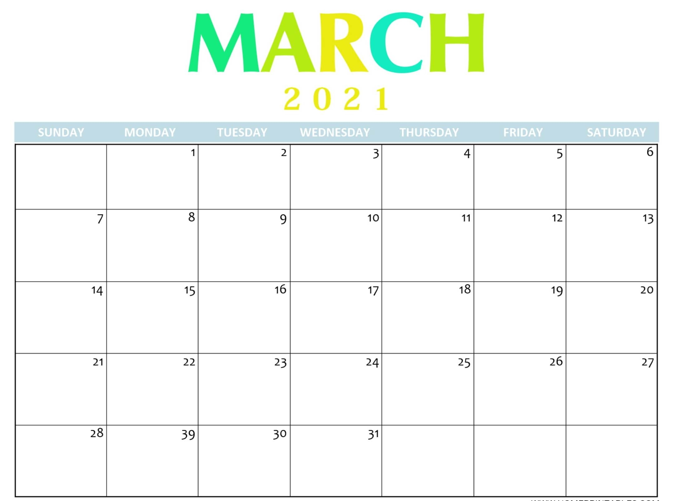 Free Calendar 2021 March Printable Notes Template - One