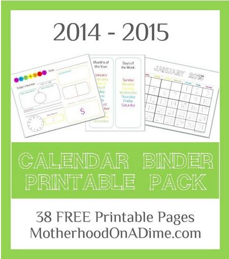 Free Calendar Binder Printables | School | Homeschool