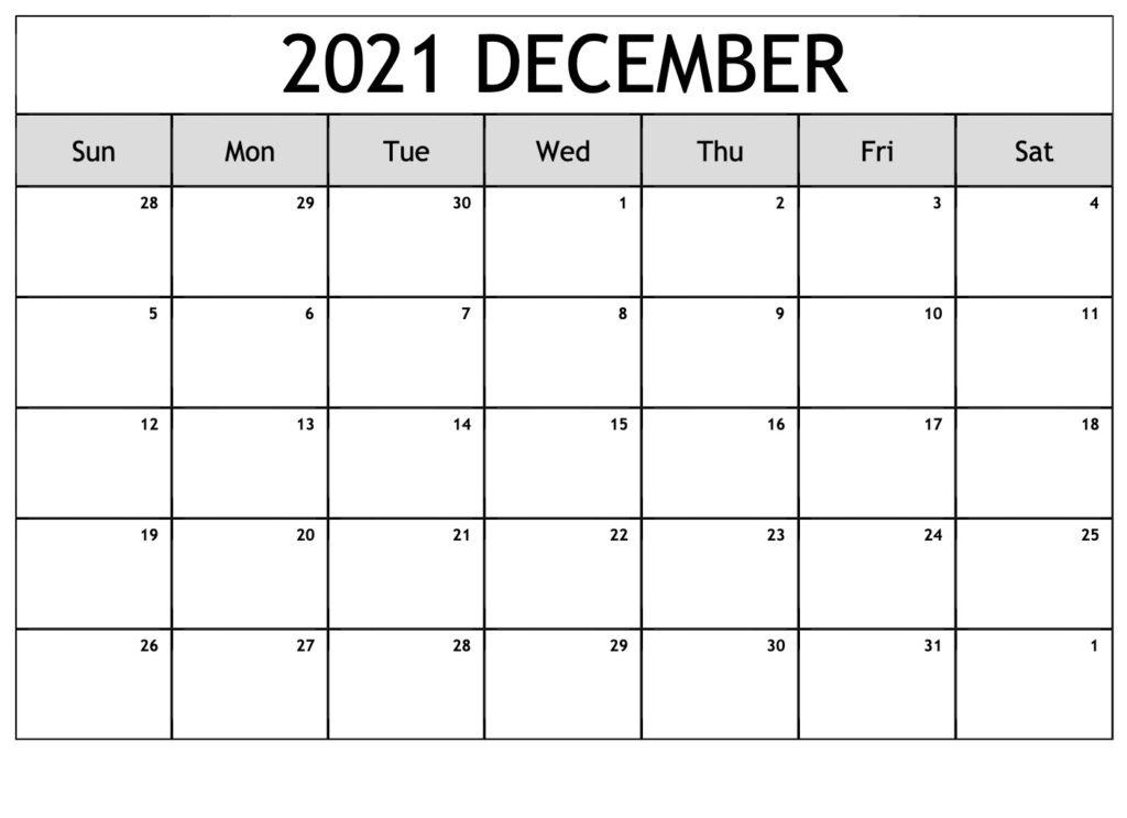 Free December 2021 Calendar Printable - Blank Templates