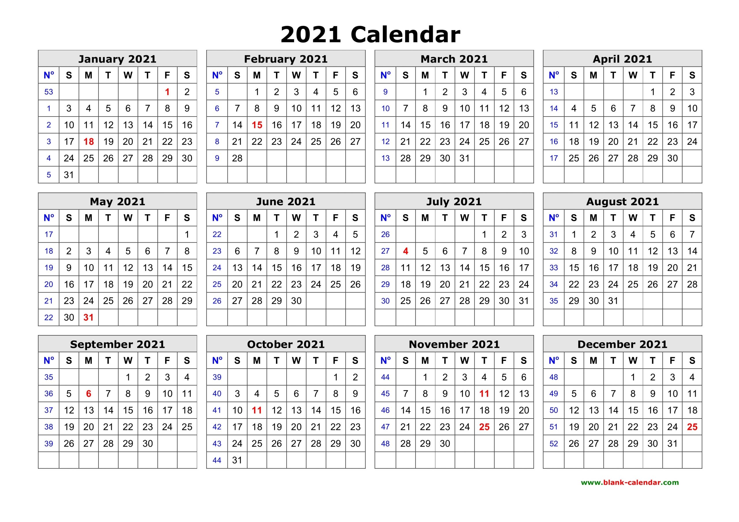 Free Download Printable Calendar 2021 In One Page, Clean