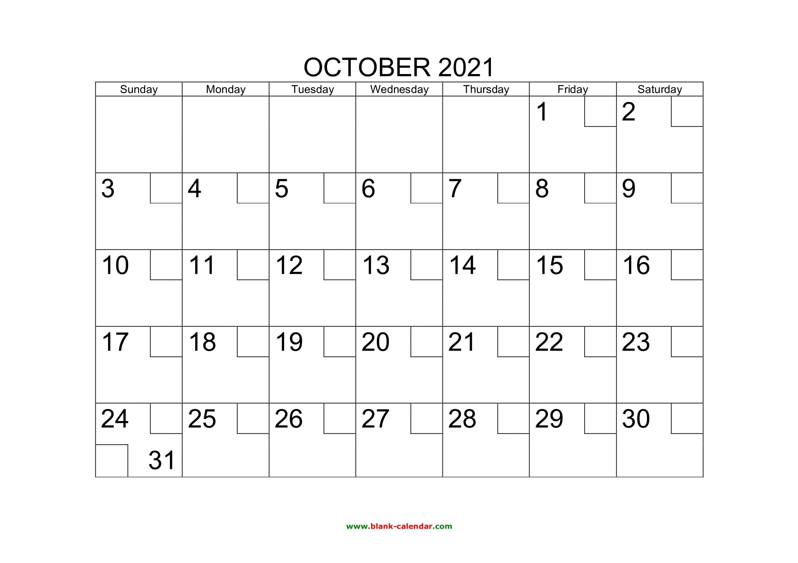 Free Download Printable October 2021 Calendar With Check Boxes