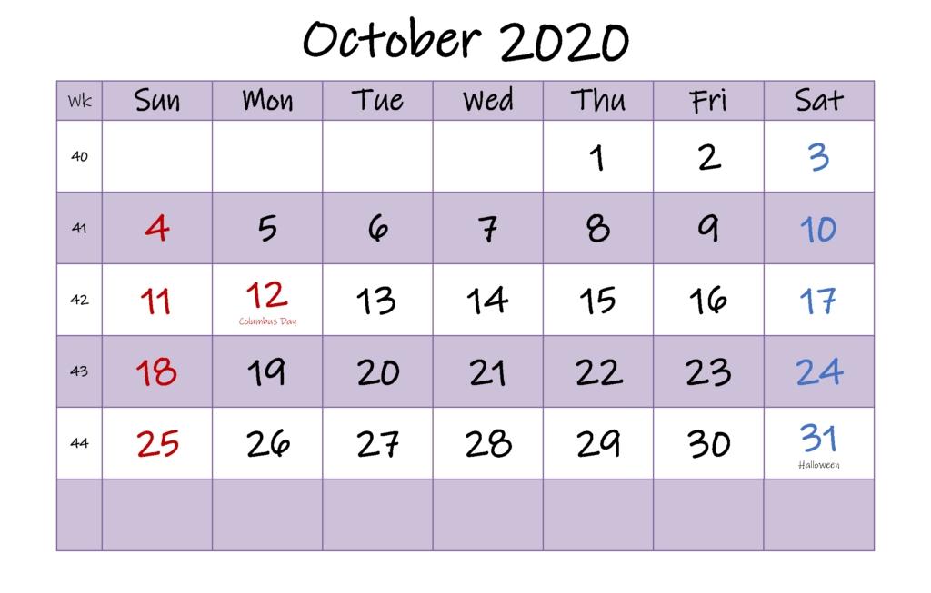 Free Editable October Calendar 2020 Printable Template