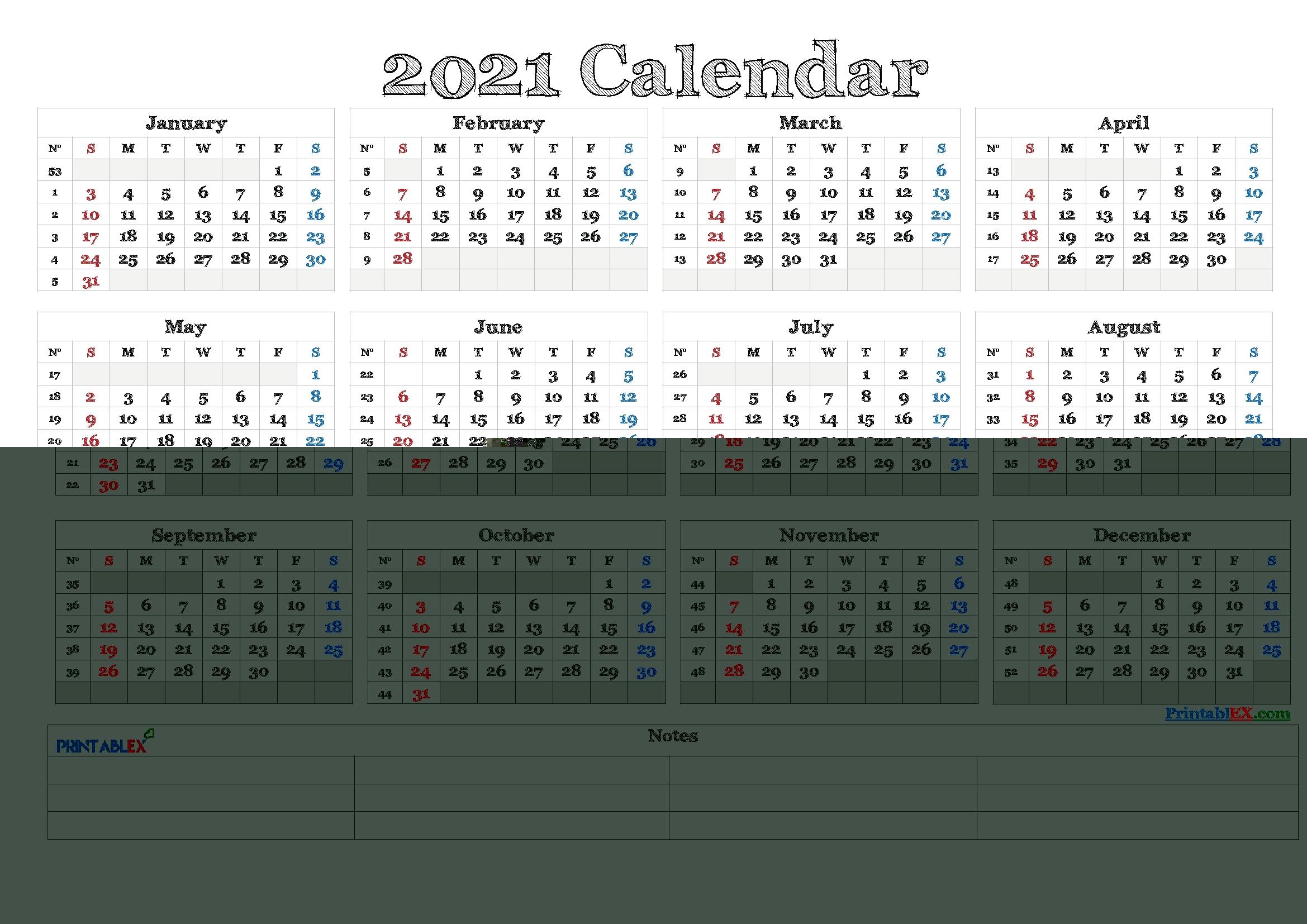 Free Editable Weekly 2021 Calendar / 2021 Editable Yearly