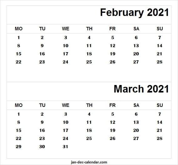 Free Feb Mar Calendar Template 2021 | Printable Calendar