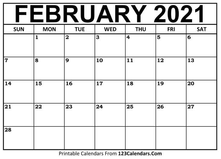 Free February 2021 Calendar | 123Calendars Get In 2020
