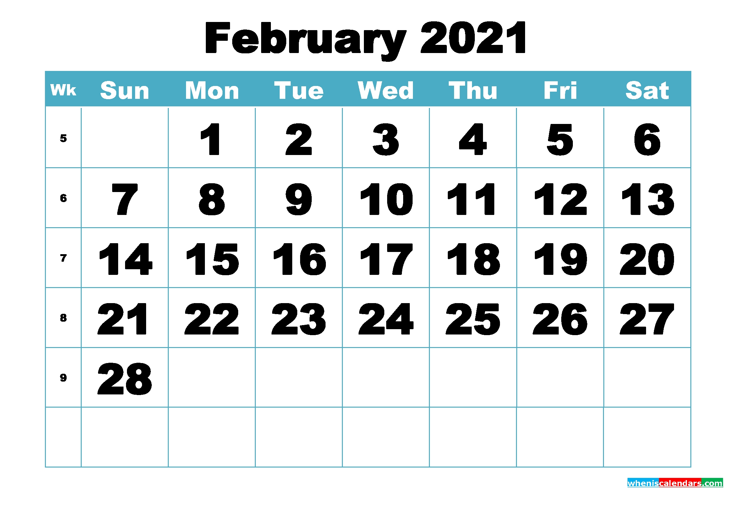 Free February 2021 Printable Monthly Calendar Template
