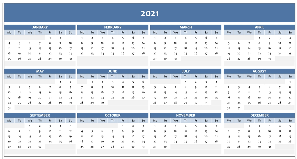 Free Full Year Calendar For 2021 [Excel Template]