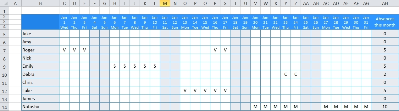 Free Online Employee Vacation Calendar Image | Calendar