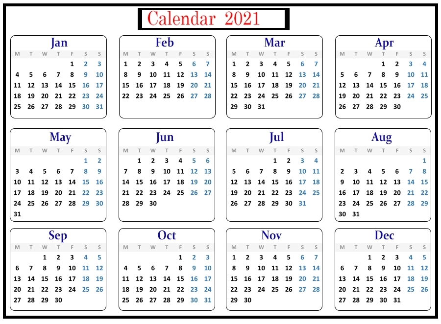 Free Online Printable Calendar 2021 May For All Users