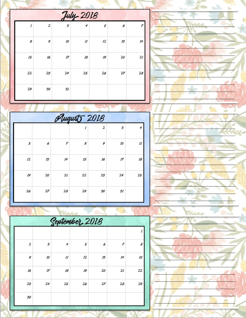 Free Printable 2018 Quarterly Calendars: 2 Designs!