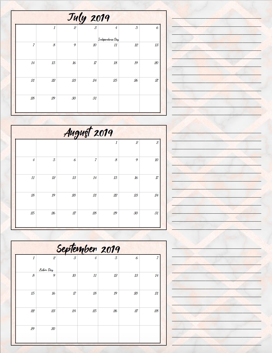 Free Printable 2019 Quarterly Calendars With Holidays: 3