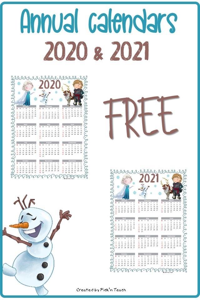 Free Printable 2020-2021 Annual Calendars Favorites - Year