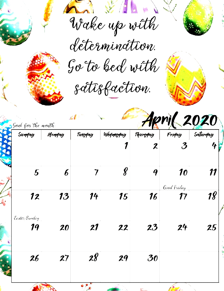 Free Printable 2020 Monthly Motivational Calendars. Space