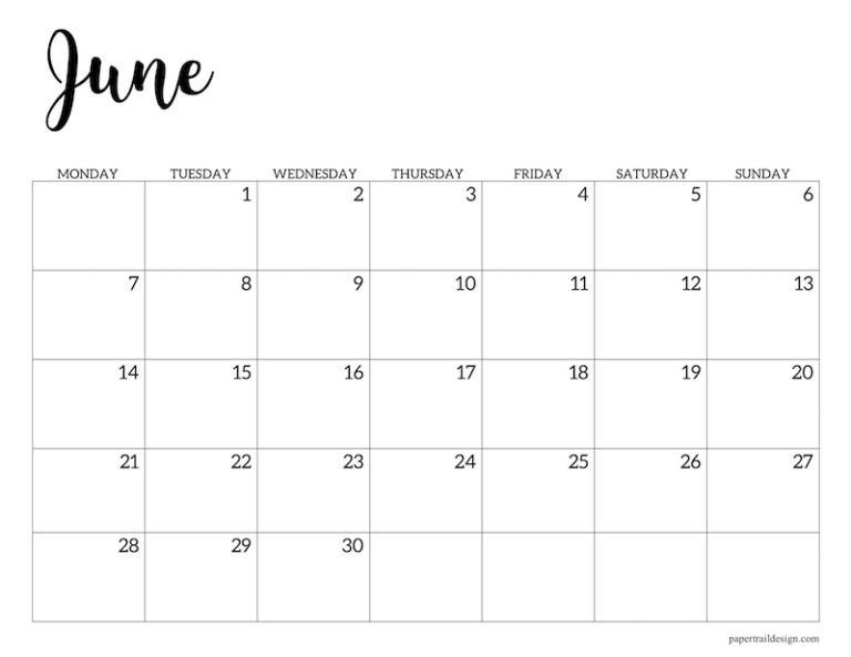 Free Printable 2021 Calendar - Monday Start | Paper Trail