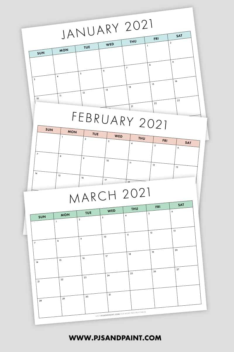 Free Printable 2021 Calendar - Sunday Start - Pjs And Paint